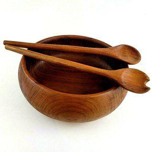 Vtg Wooden Salad Bowl Winsome Teak w/ Fork & Spoon